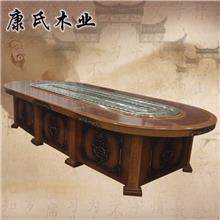 定制老榆木实木家具 电动餐桌 红木家用餐桌 厂家直销