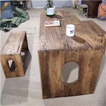 老榆木美式纯实木餐桌 老榆木实木家具定制