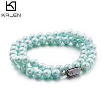 8mm圆形无暇强光珍珠项链 白色粉色蓝色珠珍手工饰品批发