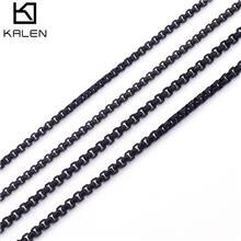 不锈钢百搭黑色方珍珠项链 外贸钛钢锁骨项链 男士饰品工厂直销
