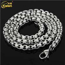 2015新款时尚韩版个性霸气男粗链子 钛钢项链 不锈钢方口珍珠项链
