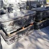 老石缸 庭院摆放雕花石缸 浮雕方缸 养鱼种花石缸 诚石石业有限公司
