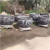 石缸 青石仿古刻花鱼缸 庭院观赏荷花缸 石雕花盆 诚石石业生产