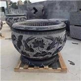 厂家现货供应多种尺寸青石雕花石缸 石雕刻花鱼缸 诚石石业