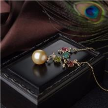 红掌柜珠宝_18K海水金色珍珠繁花似锦项链_金珍珠项链价格_天然珍珠饰品
