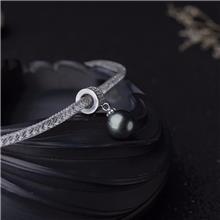 红掌柜珠宝_银镶海水黑色珍珠项链_天然珍珠项链_海水珍珠项链价格