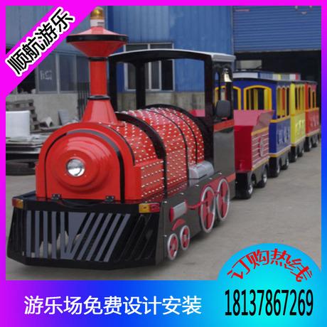 大型户外游乐无轨观光小火车 厂家直销公园新款无轨仿古观光火车