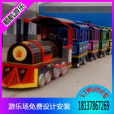 仿古观光火车儿童游乐设备 郑州无轨观光火车顺航生产厂家直销 新型游乐设备