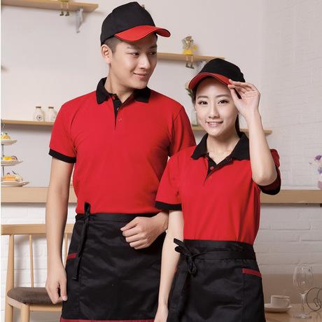 工作服定制快餐翻领广告衫纯色变色企业文化衫班服短袖T恤衫印字