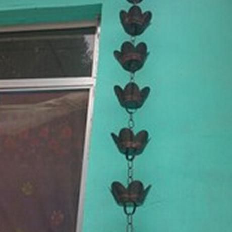 供应高档别墅屋檐排水用铝合金雨链,美观大方、装饰效果好