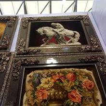 欧式古典复古图案挂毯-带框名画挂毯-天津永强厂家直销