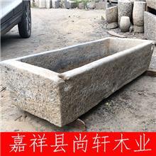 批量农村天然老旧青石槽_牛槽水槽 石槽造景流水摆件