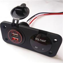 厂家直销12V-24V 改装USB车充+电压表车载手机充电器2.1A车充 XU