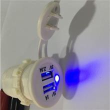宇捷新款  车载手机充电器 白色双USB 充电器 12-24V    Z
