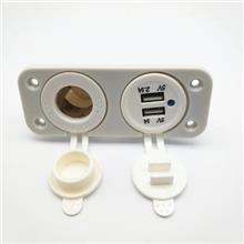 新款12-24V车载手机充电器+取电插座母座 白色精品款H