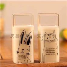 玻璃牛奶杯_单层牛奶杯_创意加厚透明牛奶杯支持印LOGO_家用水杯