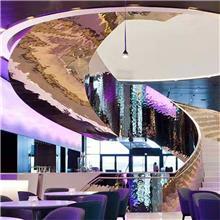 咖啡厅  西餐厅 会所钢构箱体旋转楼梯--跃鼎装饰--厂家设计定制直销